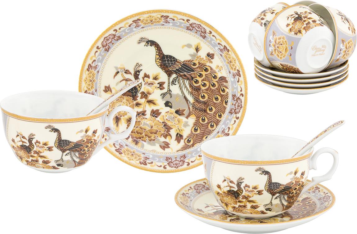 Набор чайный Elan Gallery Павлин на бежевом, 18 предметов сахарница elan gallery павлин на бежевом 400 мл