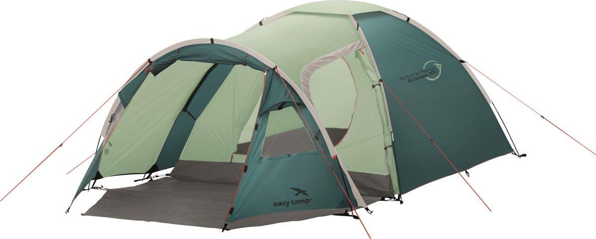 Палатка Easy Camp, 3-местная, цвет: зеленый, серый. 120281