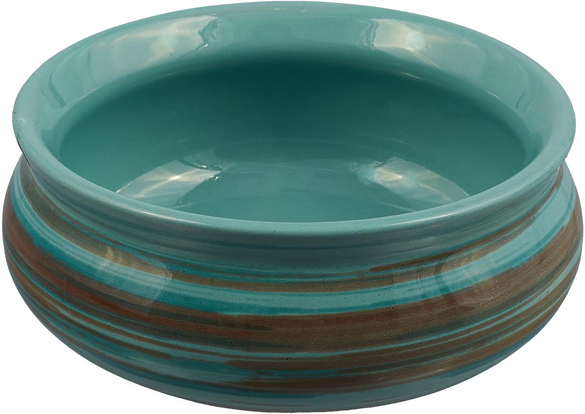 Тарелка Борисовская керамика Скифская, цвет: мятный, коричневый, 300 мл набор тарелок борисовская керамика скифская цвет серый хаки 4 шт