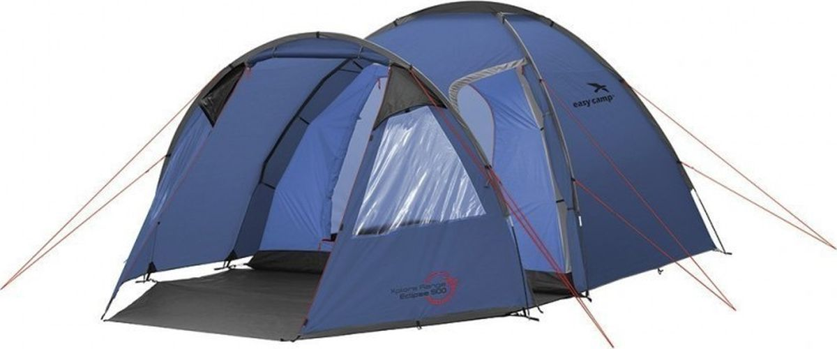 Палатка Easy Camp, 5-местная, цвет: синий. 120230120230Просторная палатка с каркасом из стекловолокна рассчитана на 5 человек. Модель отлично подойдет для молодых семей. Палатка отличается просторным тамбуром и широкой зоной под навесом. Два входа, большие окна со шторками и хорошая вентиляция делают отдых более комфортным и приятным. Как выбрать палатку – статья на OZON Гид.