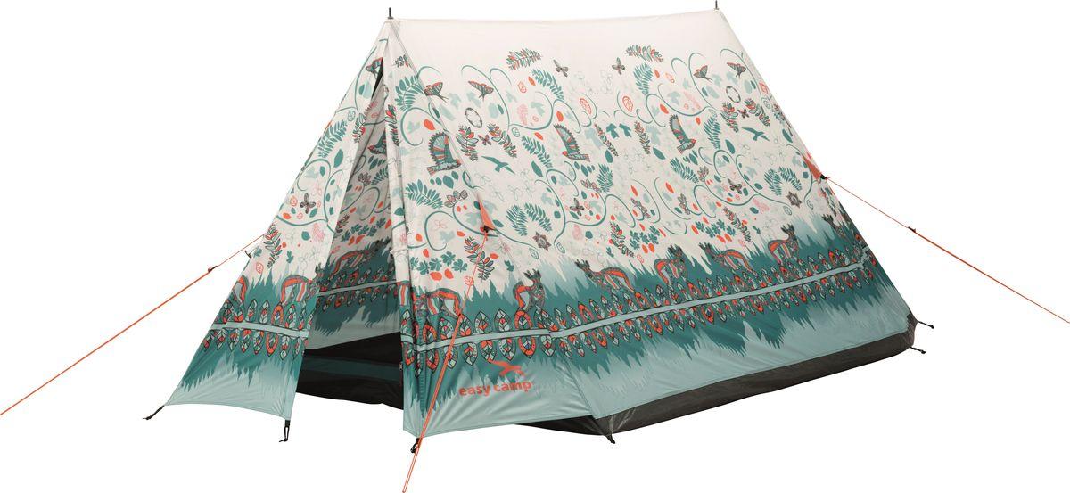 Палатка Easy Camp, 2-местная, цвет: бежевый, зеленый. 120258