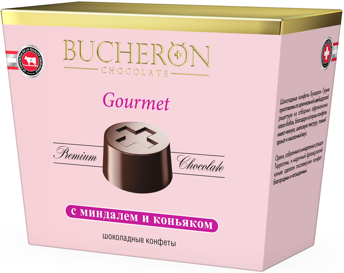 Bucheron Gourmet конфеты с миндалем и коньяком, 175 г16.6302Шоколадные конфеты Бушерон Гурме приготовлены по оригинальной швейцарской рецептуре из отборных африканских какао-бобов, благодаря которым конфеты имеют нежную, шелковую текстуру, тонкий аромат и изысканный вкус. Орехи, собранные в миндальных рощах Таррагоны, и марочный французский коньяк сделали послевкусие конфет благородным и насыщенным.