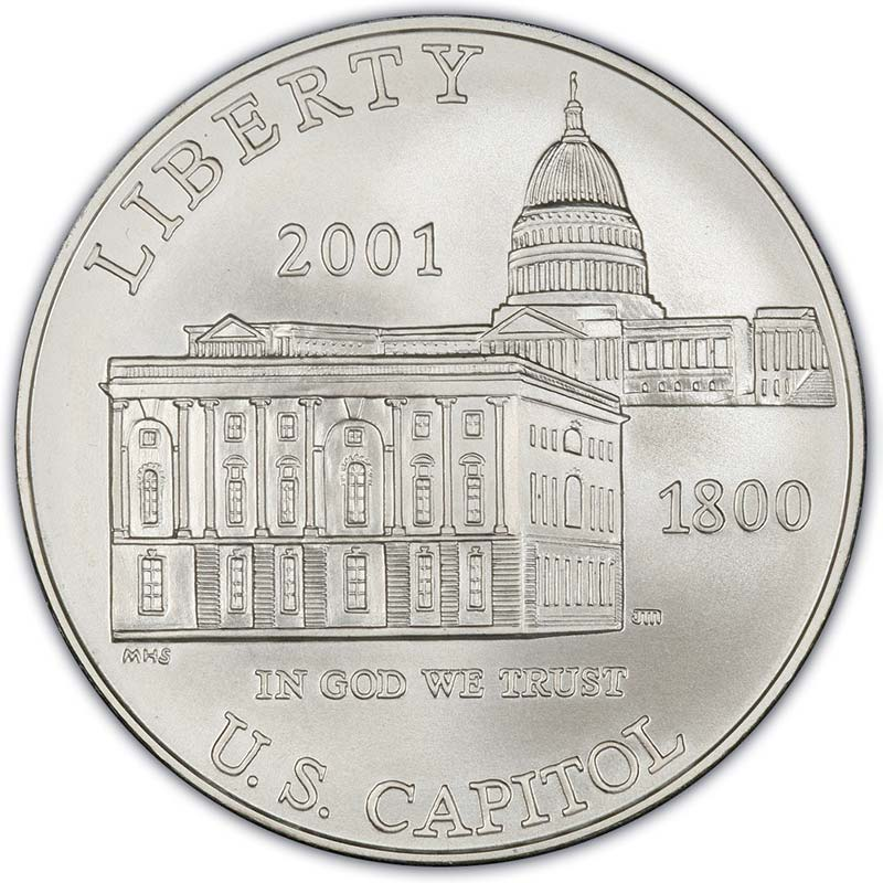 Монета номиналом 1 доллар 2001 Капитолий, белый металл UNC монета номиналом 1 доллар 2016 сша марк твен серебро unc
