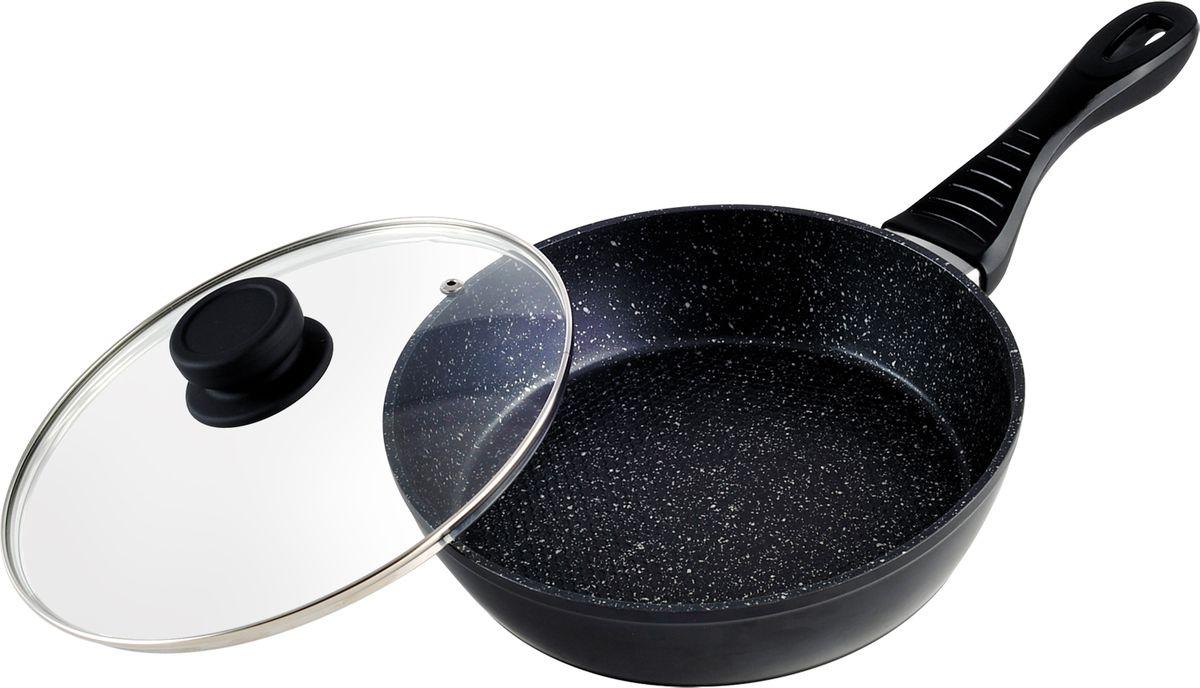 """Сковорода """"Bohmann"""", с крышкой, с мраморный покрытием, цвет: черный, 26 см. 1004-26BHMRB"""