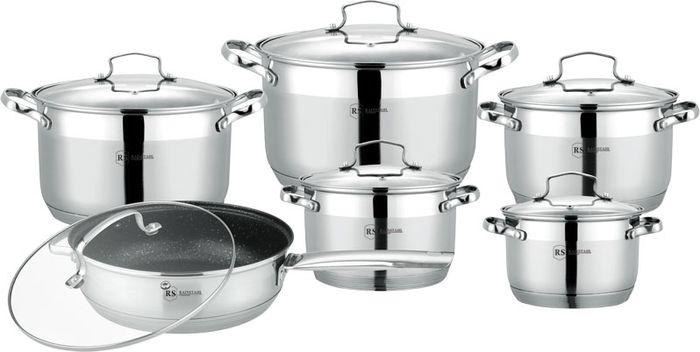 Набор посуды Rainstahl, с антипригарным покрытием, 12 предметов, цвет: белый, . 1855-12RS/CW МRB кастрюля maestro cast mr 4128 черный с крышкой 6 7 л