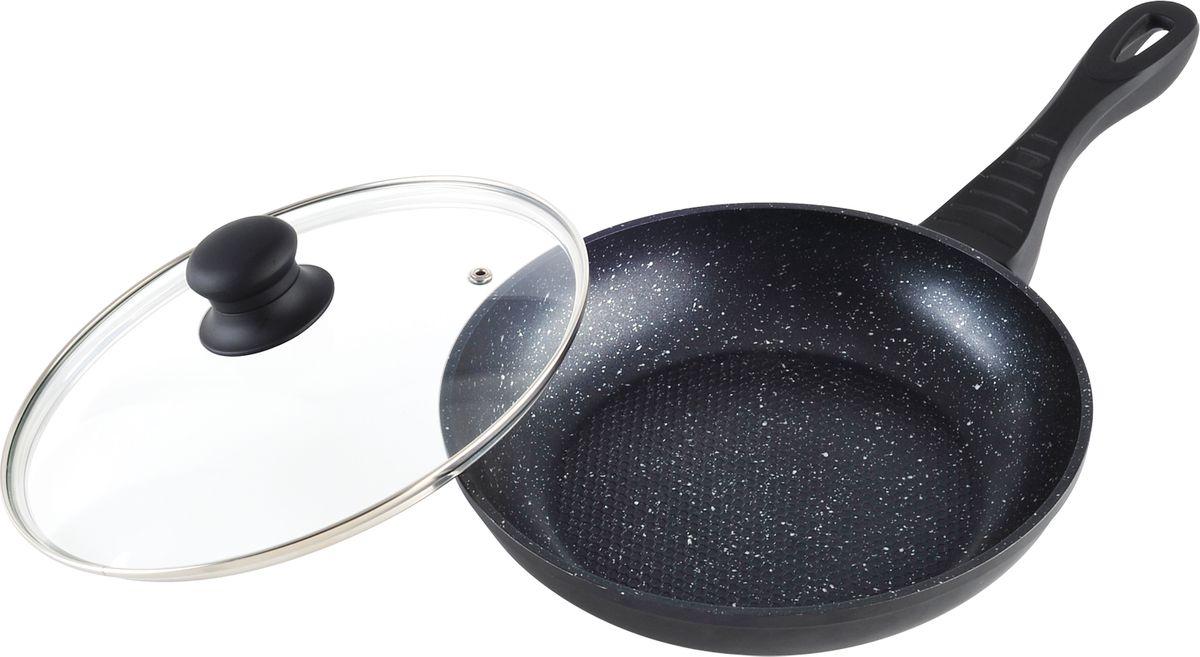 """Сковорода """"Rainstahl"""", с крышкой, цвет: черный, 28 см. 9501-28RS\FP"""