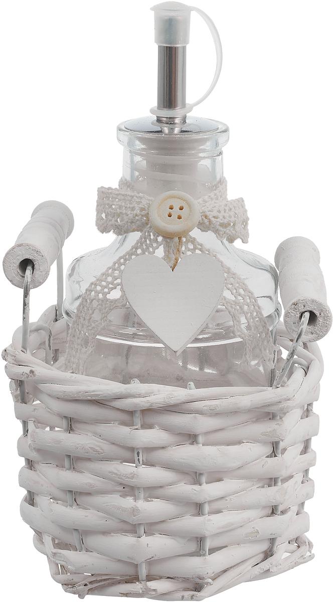 Емкость для хранения Miralight Прованс, в корзине, цвет: белый, 0,25 л цена