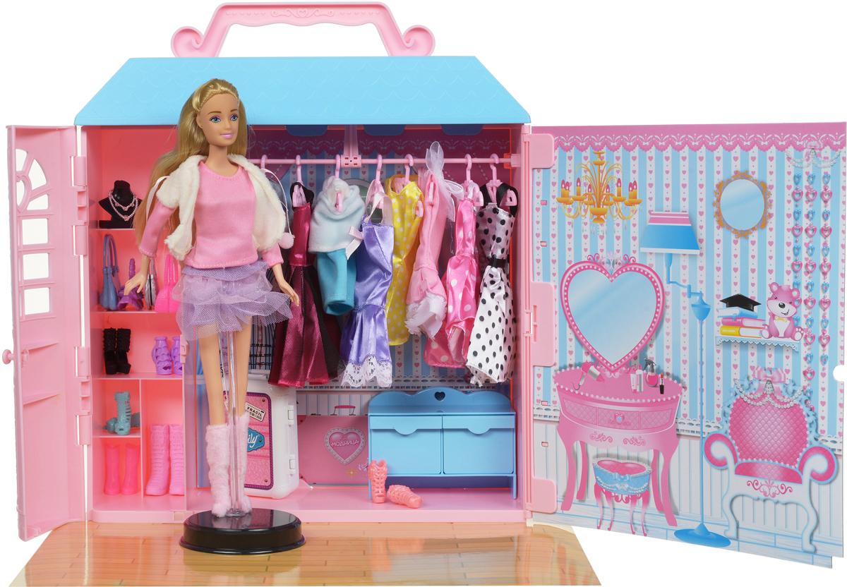 ABtoys Игровой набор с куклой Модница с гардеробной 84 предмета куклы и одежда для кукол wei tai toys кукла с аксессуарами 35 см wtt6407