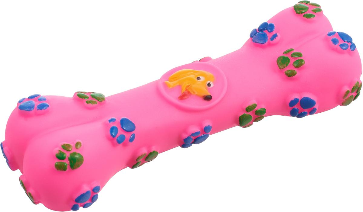 Игрушка для собак Уют Косточка с лапками, цвет: розовый, 15,5 см игрушка для собак fat cat кот забияка цвет синий розовый