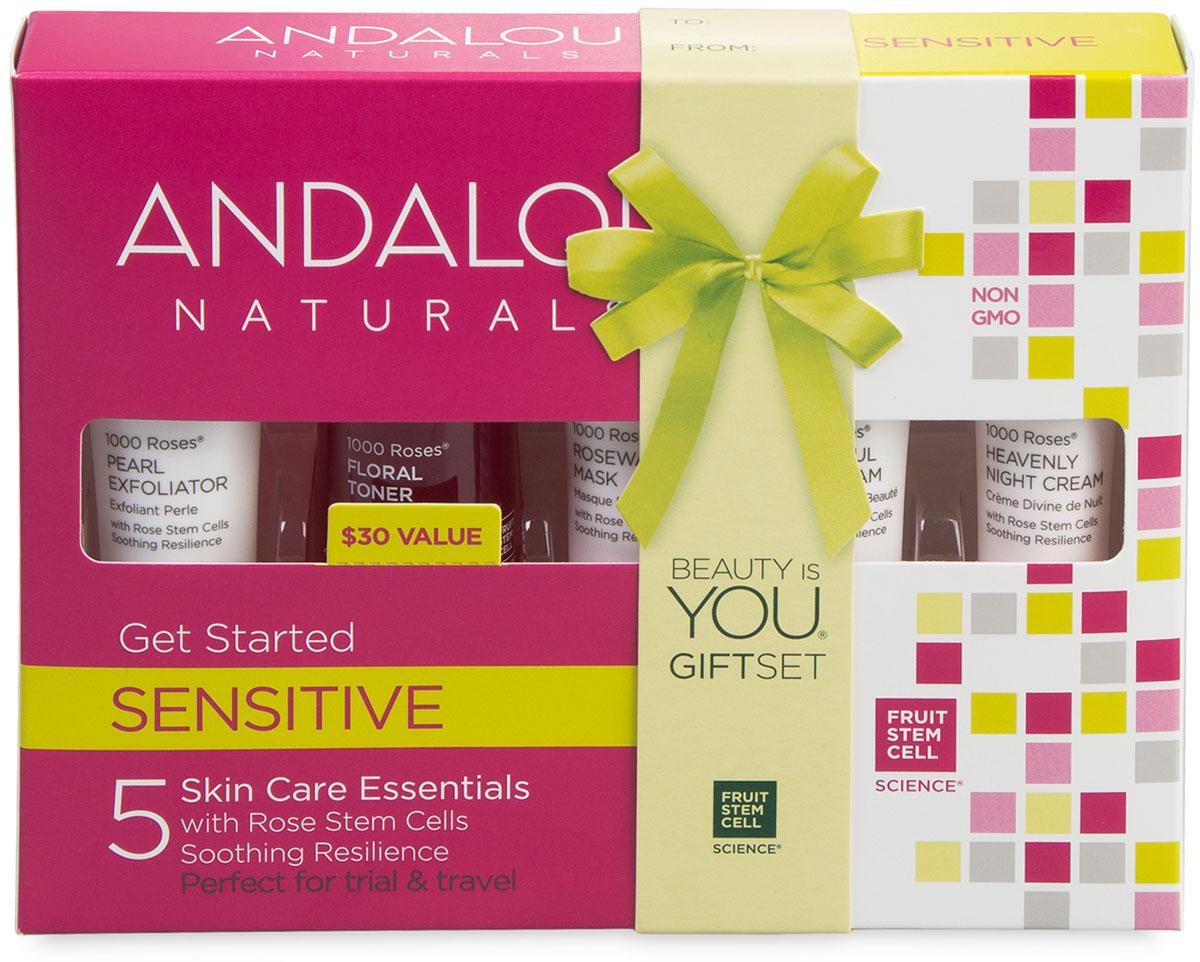 """Andalou Naturals Коллекция """"1000 роз"""": Набор из минипродуктов """"комплексный уход за чувстительной кожей"""", 5 шт"""