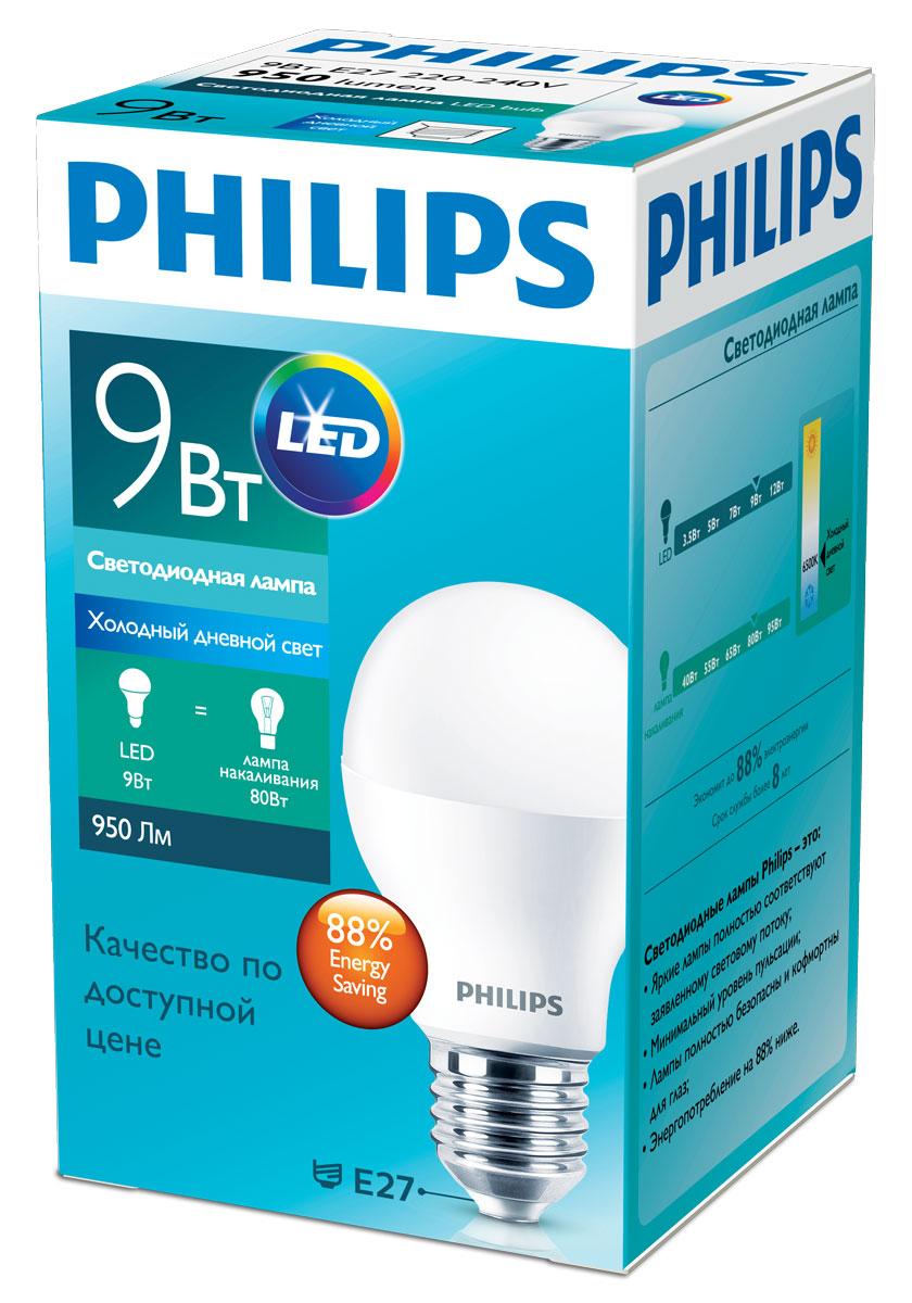 "Лампа светодиодная Philips ""Essential"", цоколь E27, 9W, 6500К, 950 Лм"