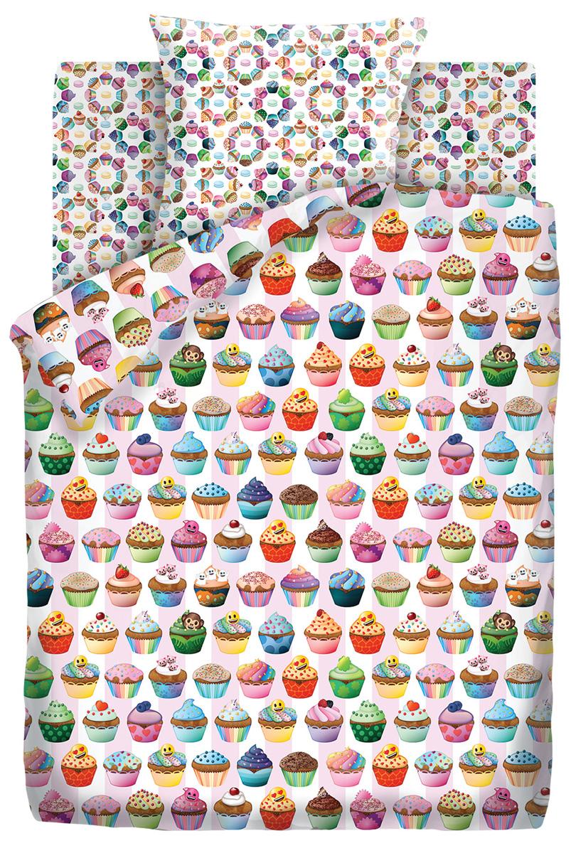 Комплект постельного белья детский Emoji Капкейк, 1,5-спальный, наволочка 70x70 random color ball emoji round keychain