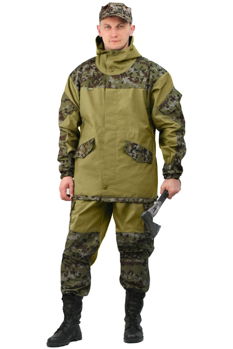 Костюм мужской URSUS Горка 3: куртка, брюки, цвет: хаки. КОС288-270РСП. Размер 48/50-170/176КОС288-270РСПКостюм камуфляжный Горка 3 состоит из куртки и брюк. Куртка свободного кроя, застежка центральная супатная, на петлю и пуговицу. Кокетка, накладки и карманы из отделочной ткани. Два нижних прорезных кармана с клапаном, на петлю и пуговицу, внутренний отлетной карман на пуговицу, на рукавах по одному накладному наклонному карману с клапаном на петлю и пуговицу. В области локтя усиливающие фигурные накладки. Низ рукавов на резинке. Капюшон двойной, с козырьком, имеет утягивающую кулису для регулировки по объему. Подгонка по талии с помощью кулиски. Брюки свободного покроя, гульфик с застежкой на петлю и пуговицу. Два верхних кармана в боковых швах. В области коленей, на задних половинках брюк в области сидения - усиливающие накладки. Два боковых накладных кармана с клапаном, два задних накладных фигурных кармана на пуговицах. Крой деталей в области коленей препятствует их вытягиванию. Пылезащитная юбка из бязи по низу брюк. Задние половинки под коленом собраны резинкой. Пояс на резинке, низ на резинке. Рекомендуем!