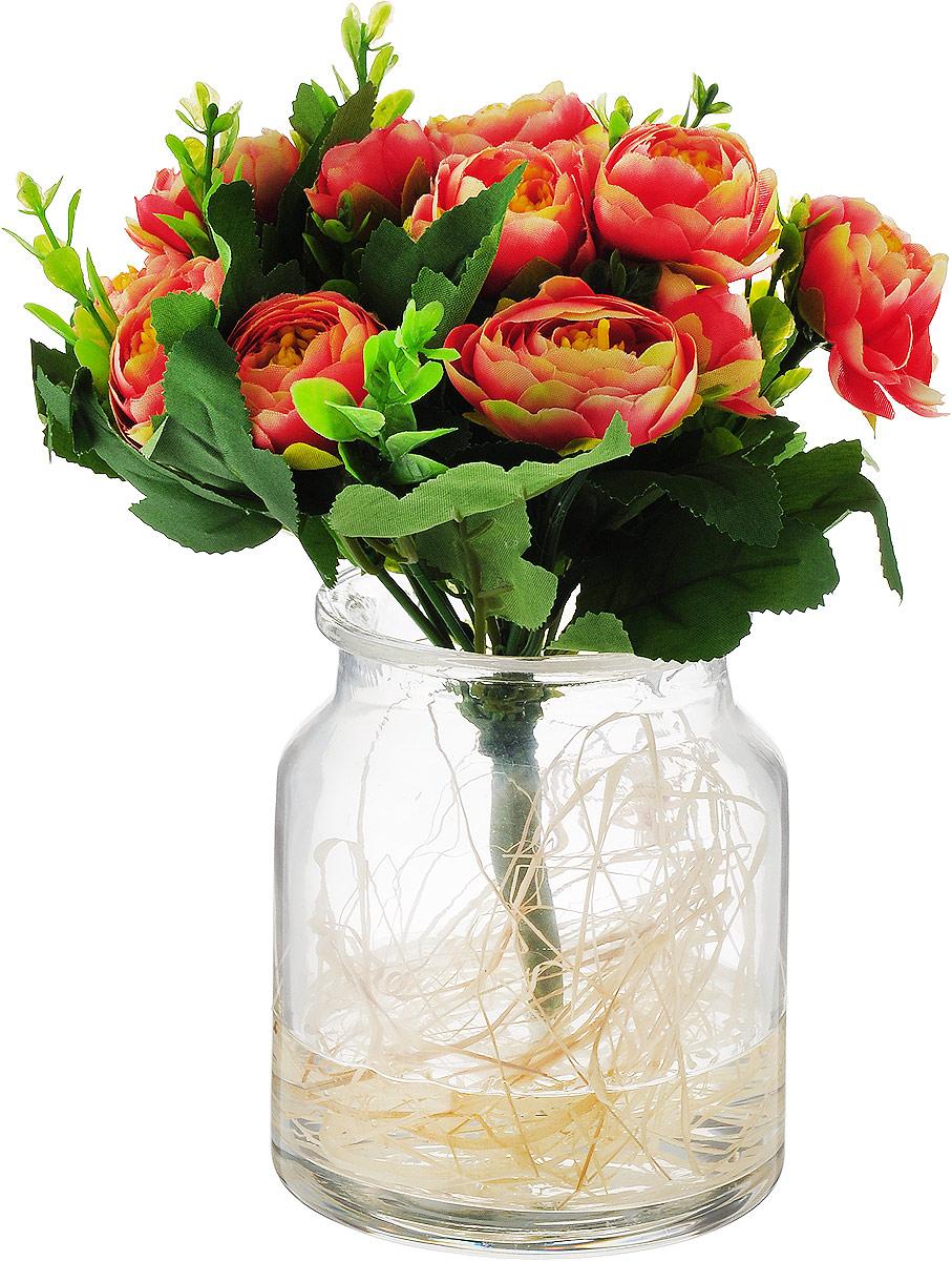 Фото - Цветы декоративные Dream Garden Купальницы оранжевые, в стеклянной вазе цветы