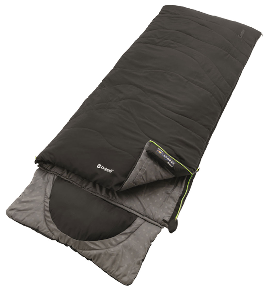 Спальный мешок-одеяло Outwell Contour, с подголовником, цвет: черный, правосторонняя молния, 225 х 90 см мешок спальный onlitop богатырь правосторонняя молния цвет хаки 225 х 105 см
