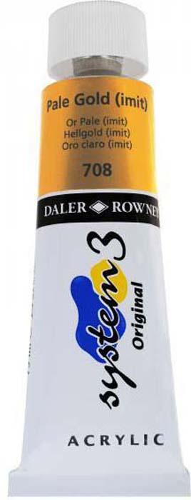 Daler Rowney Краска акриловая System 3 цвет пастельное золото (имитация) 59 мл