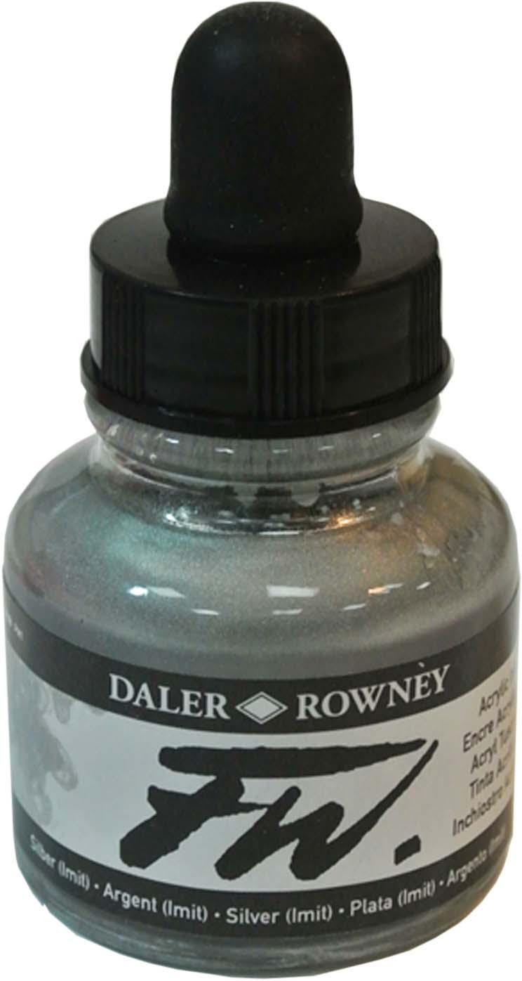 Daler Rowney Чернила акриловые Fw Artists цвет серебряный (имитация), 29,5 мл