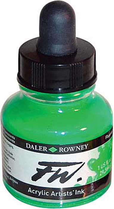 Daler Rowney Чернила акриловые Fw Artists цвет флуорисцентный зеленый 29,5 мл