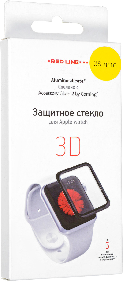 Red Line Corning защитное стекло для Apple Watch, Black (3D). УТ000012851 цена 2017