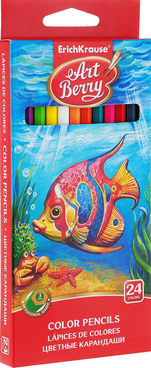 Цветные карандаши ArtBerry, шестигранные, 24 цвета