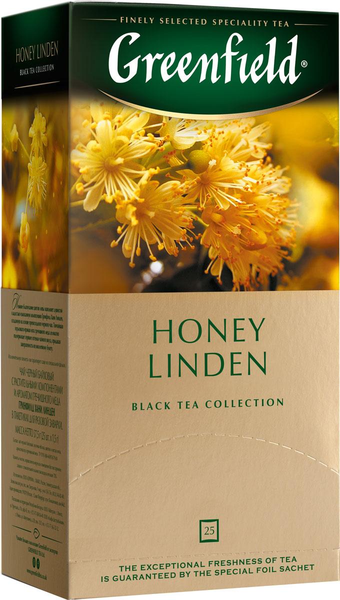 Greenfield Honey Linden черный чай с липой и медом в пакетиках, 25 шт greenfield honey linden черный чай с липой и медом в пакетиках 25 шт