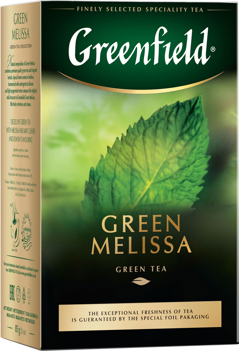 Greenfield Green Melissa зеленый листовой чай, 85 г1256-14Greenfield Green Melissa - зеленый чай с мелиссой, ароматом мяты и лимона.