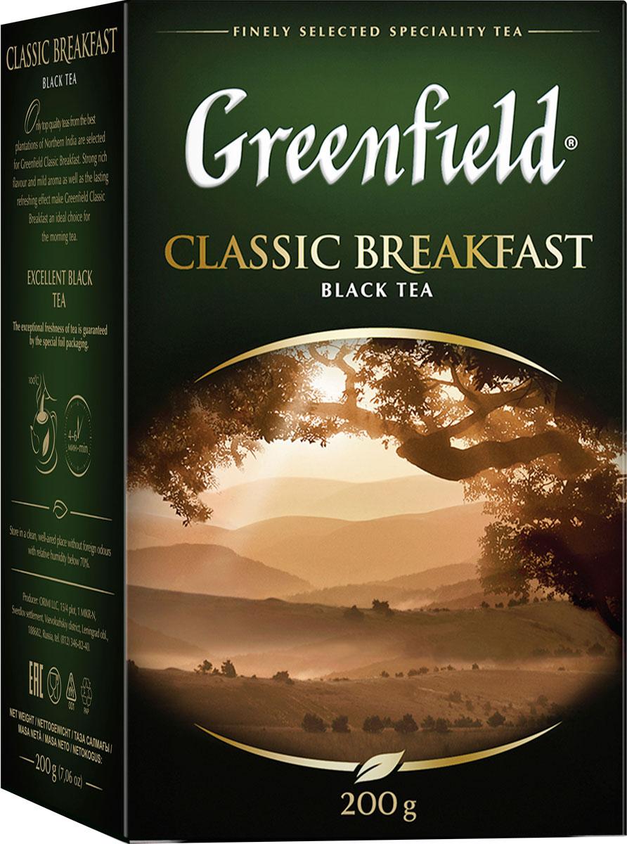 Greenfield Classic Breakfast черный листовой чай, 200 г0792-10Ценные сорта чая с лучших плантаций северной Индии легли в основу Greenfield Classic Breakfast. Терпкий сочный вкус, нежный аромат и сильный тонизирующий эффект делают Greenfield Classic Breakfast идеальным для утреннего чаепития.