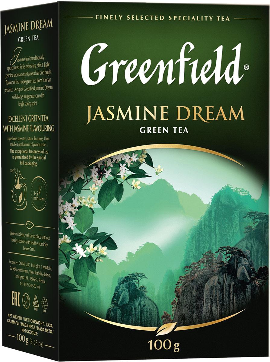 Greenfield Jasmine Dream зеленый ароматизированный листовой чай, 100 г цены
