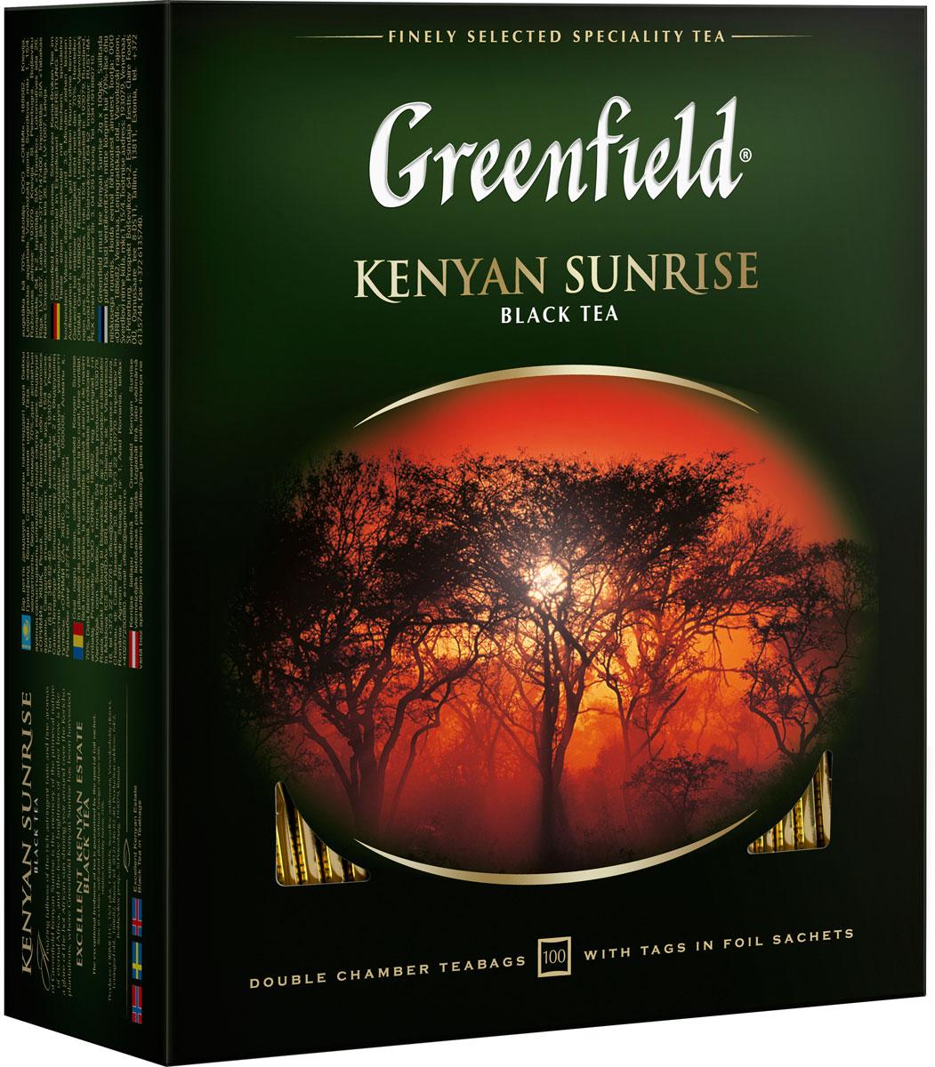 Greenfield Kenyan Sunrise черный чай в пакетиках, 100 шт