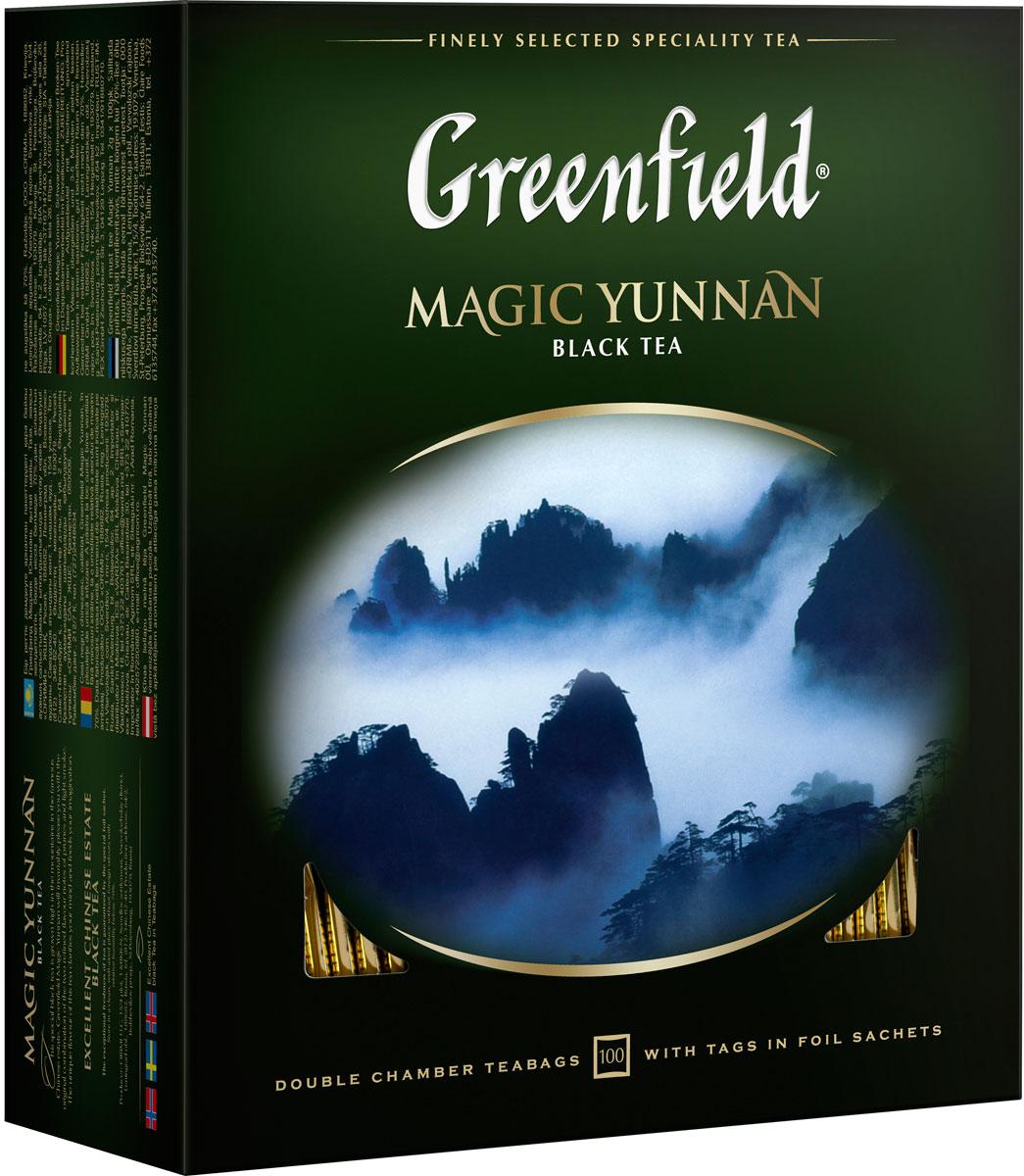 Greenfield Magic Yunnan черный чай в пакетиках, 100 шт greenfield honey linden черный чай с липой и медом в пакетиках 25 шт
