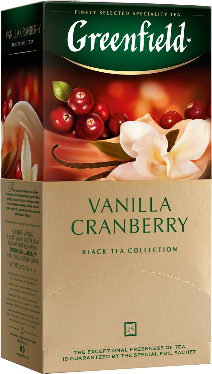Greenfield Vanilla Cranberry черный чай в пакетиках, 25 шт greenfield honey linden черный чай с липой и медом в пакетиках 25 шт