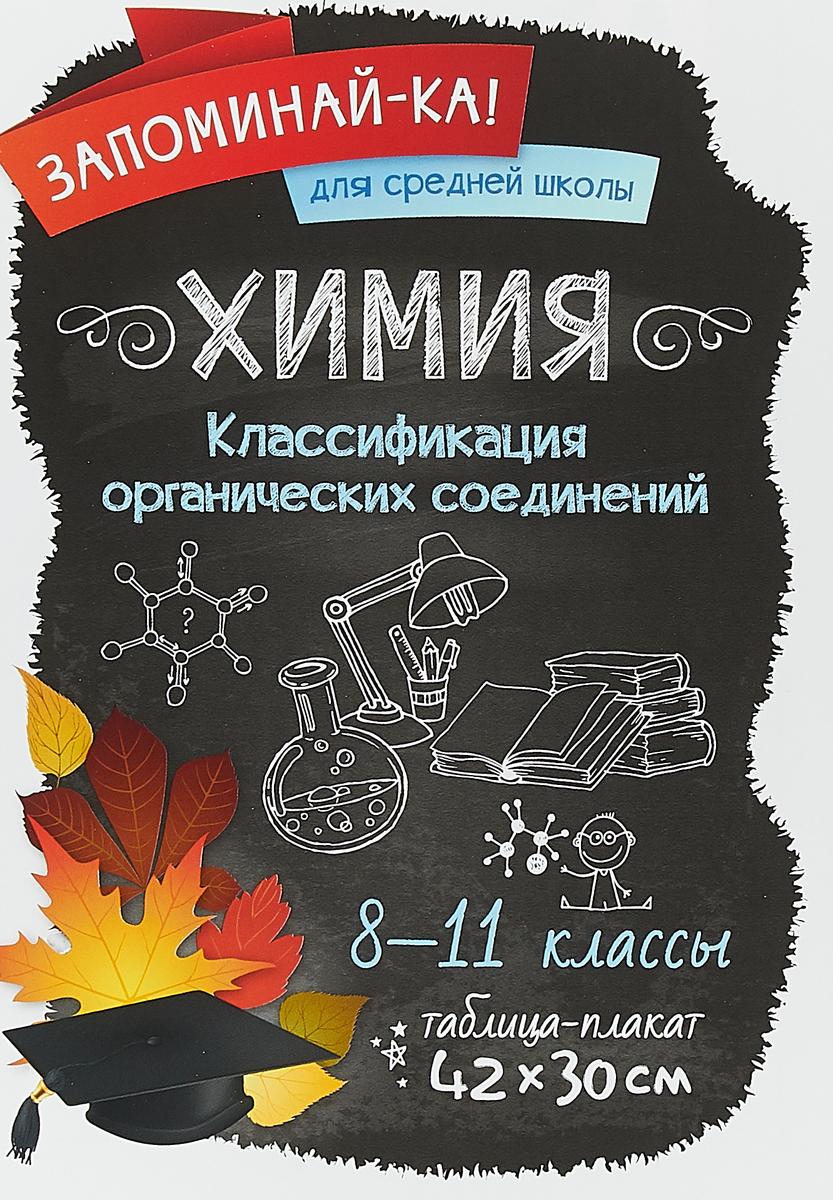 Химия. Классификация органических соединений. 8-11 классы. Таблица-плакат
