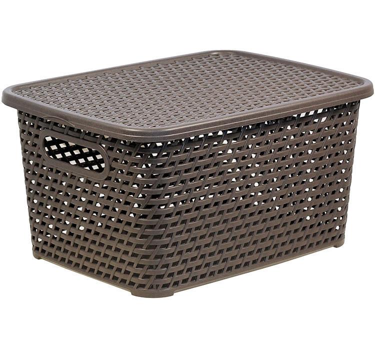 Ящик универсальный Idea ротанг, с крышкой, цвет: кофейный, 37 х 28 х 19 см ящик универсальный альтернатива раскладной цвет в ассортименте 38 5 х 25 5 х 21 см
