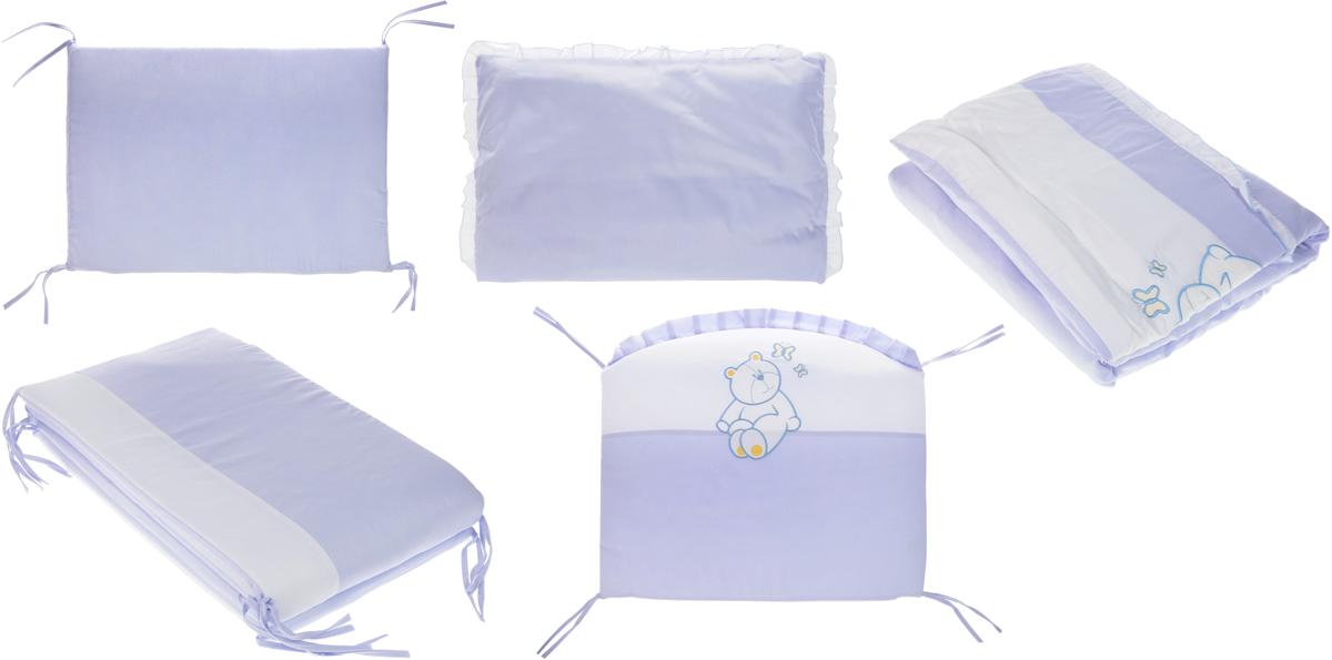 Сонный гномик Комплект белья для новорожденных Пушистик цвет голубой 6 предметов610/1Детское постельное белье с бортиками для новорожденных Пушистик, сочетающее в себе натуральный и мягкий материал, который не вызовет аллергии у вашего малыша и ненавязчивый, но в то же время стильный и современный дизайн, который будет радовать вас и вашего малыша. Постельное белье Пушистик выполнено из отборного сатина (100% хлопок), украшенного милой аппликацией. Комплектация: наволочка, подушка, простынь на резинке, пододеяльник, одеяло, борт со съемным чехлом на молнии из 4 частей для кроватки 120 х 60 см. Размер наволочки: 60 х 40 см. Размер подушки: 60 х 40 см. Размер простыни: 100 х 140 см. Размер пододеяльника: 110 х 140 см. Размер одеяла: 110 х 140 см. Размер борта: 360 х 38 см. Наполнитель подушки: бамбук (плотность 20 г/м2). Наполнитель одеяла: бамбук (плотность 250 г/м2). Наполнитель борта: холлофайбер хард (плотность 400 г/м2).