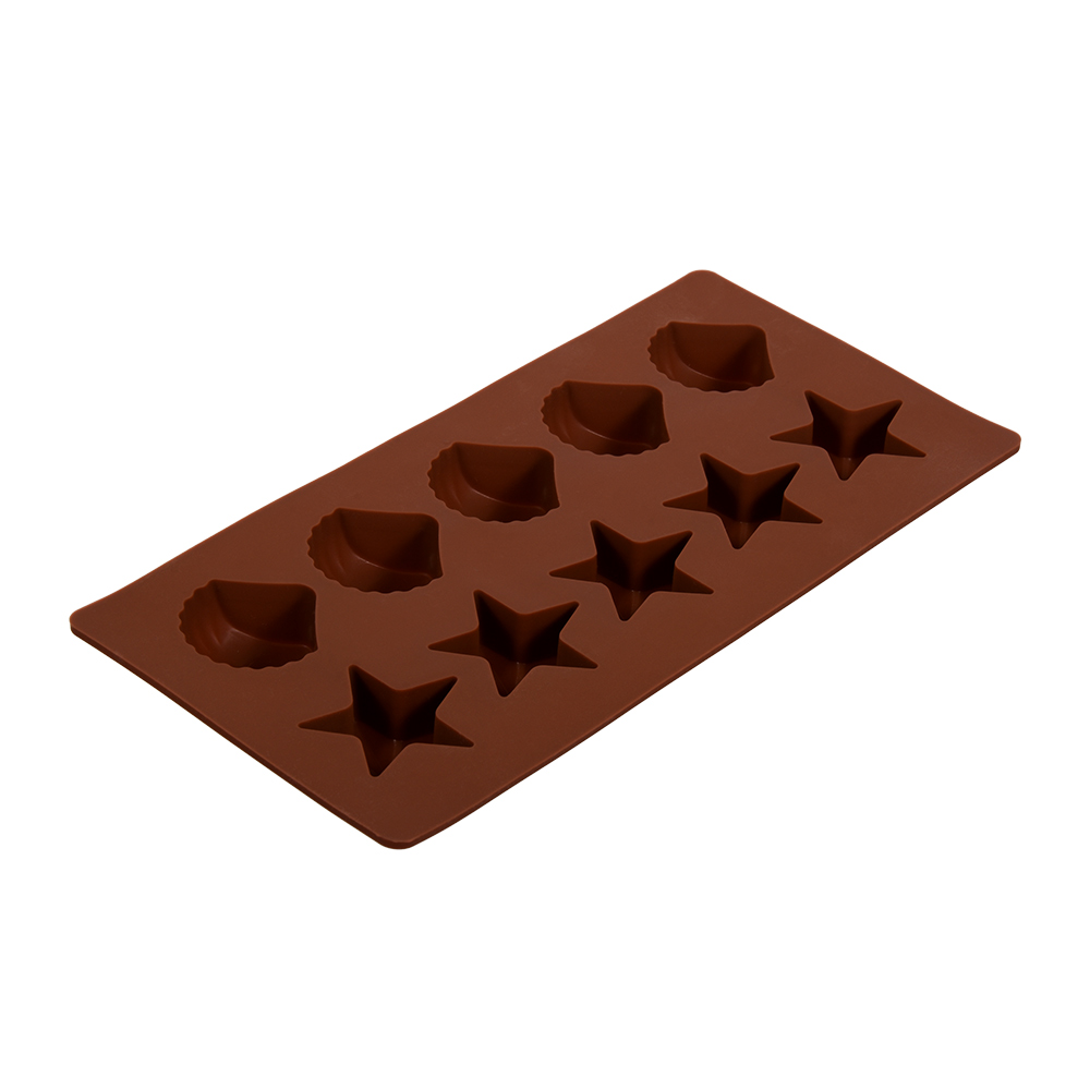 Форма для льда Marmiton Звездочки и ракушки, цвет: в ассортименте, 10 ячеек форма для льда marmiton звездочки и ракушки цвет желтый 10 ячеек