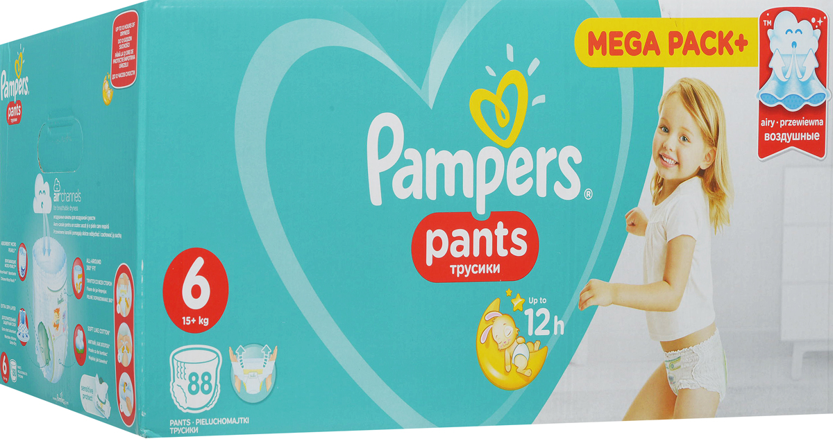 Pampers Pants Подгузники-трусики от 16 кг (размер 6) 88 шт