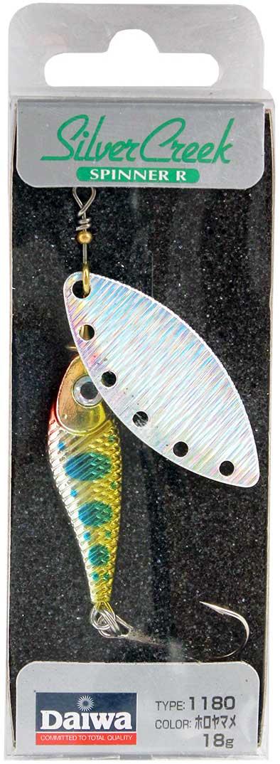 Блесна вращающаяся Daiwa Silver Creek Spinner-R. Holo Yamame, 18 г блесна колеблющаяся daiwa silver creek adm ogw 2 2 г