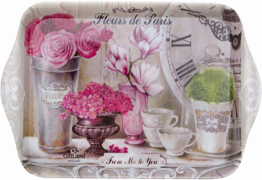 """Поднос сервировочный Gift'n'Home """"Парижские цветы"""", 20,8 х 14,2 см"""