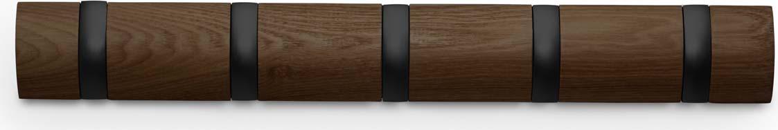 Вешалка Umbra Flip, настенная, цвет: коричневый, 5 крючков318850-048Стильная и прочная вешалка интересной формы. Имеет 5 откидных алюминиевых крючков. Когда они не используются, то складываются внутрь, превращая конструкцию в абсолютно гладкую поверхность. Идеально для маленьких прихожих и ограниченных пространств. Каждый крючок выдерживает вес до 2,3 кг.