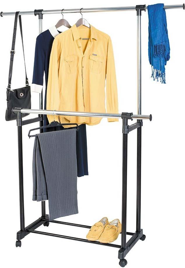 Стойка для одежды Artmoon Toronto, двойная, с боковыми выдвижными штангами, на колесиках стойка телескопическая artmoon ajaks с двумя полками 70 5 x 24 x 245 см
