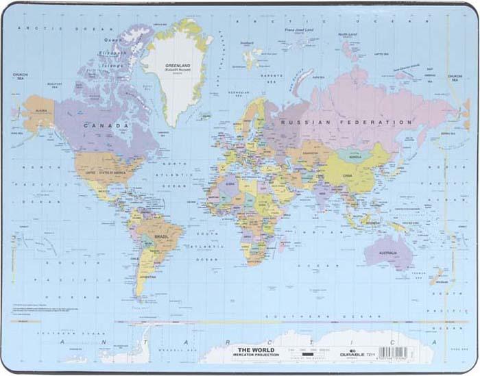 Настольная подкладка-коврик для письма  Карта мира