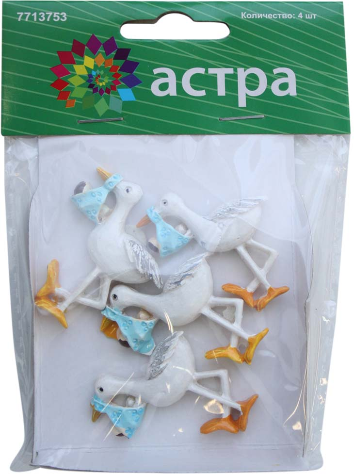 Фигурка декоративная Астра Аист с младенцем, цвет: голубой, 40 х 30 мм, 4 шт фигурка декоративная астра бабочка цвет желтый черный 22 х 35 мм 4 шт