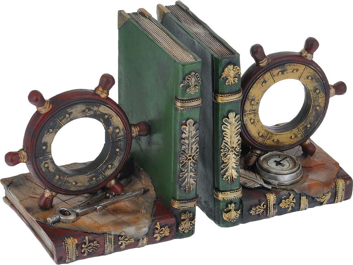 Декоративная подставка-ограничитель для книг Феникс-презент Штурвал, 2 шт подставка ограничитель для книг штурман 2 шт