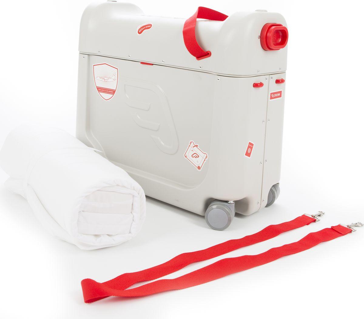JetKids Чемодан-кроватка детский BedBox цвет красный 46 х 35 х 20 смBEDBOXREDДетский чемодан-кроватка для путешествий JetKids BedBox - Это не просто чемодан, а настоящий дом на колесах! В самолете девайс трансформируется в кровать с матрасом, а на самом чемодане дети могут кататься по аэропорту, маневрируя на вращающихся вокруг своей оси колесах и еще он очень вместительный! Характеристики: - Чемодан весит всего 3 кг, включая матрас; - Габариты (ДxШxВ): 46 см x 35 см x 20 см; - Размеры JetKids BedBoх подходят под все современные требования авиакомпаний для ручной клади; - Поворотные передние колеса обеспечивают легкое маневрирование; - Матрас и боковые подушки («бортики») подлежат ручной стирке и сушке на воздухе; - Объем чемодана – 20 литров, и в нем достаточно места для любимых вещей; - Легкая установка; - Универсальное изделие, которое подходит к большинству стандартных кресел в салонах эконом-класса; - Максимальный вес пользователя: 35 кг.