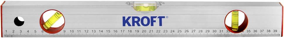 """Уровень """"Kroft"""", с линейкой, 3 глазка, 400 мм"""