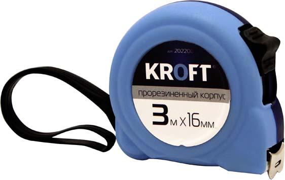 Рулетка Kroft прорезиненная, 3 м х 16 мм