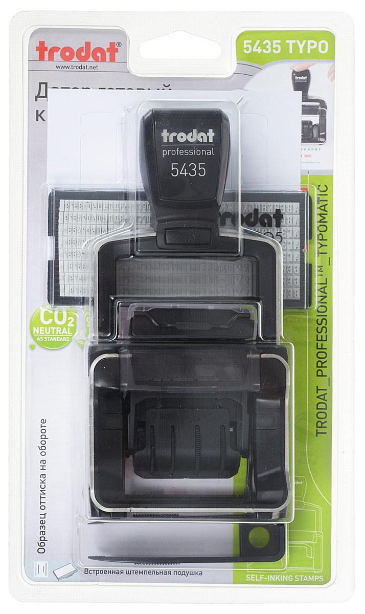 Trodat Датер самонаборный двухстрочный Typo 6005 месяц цифрами датер trodat пластик 1стр 3 8мм банк месяц цифрами