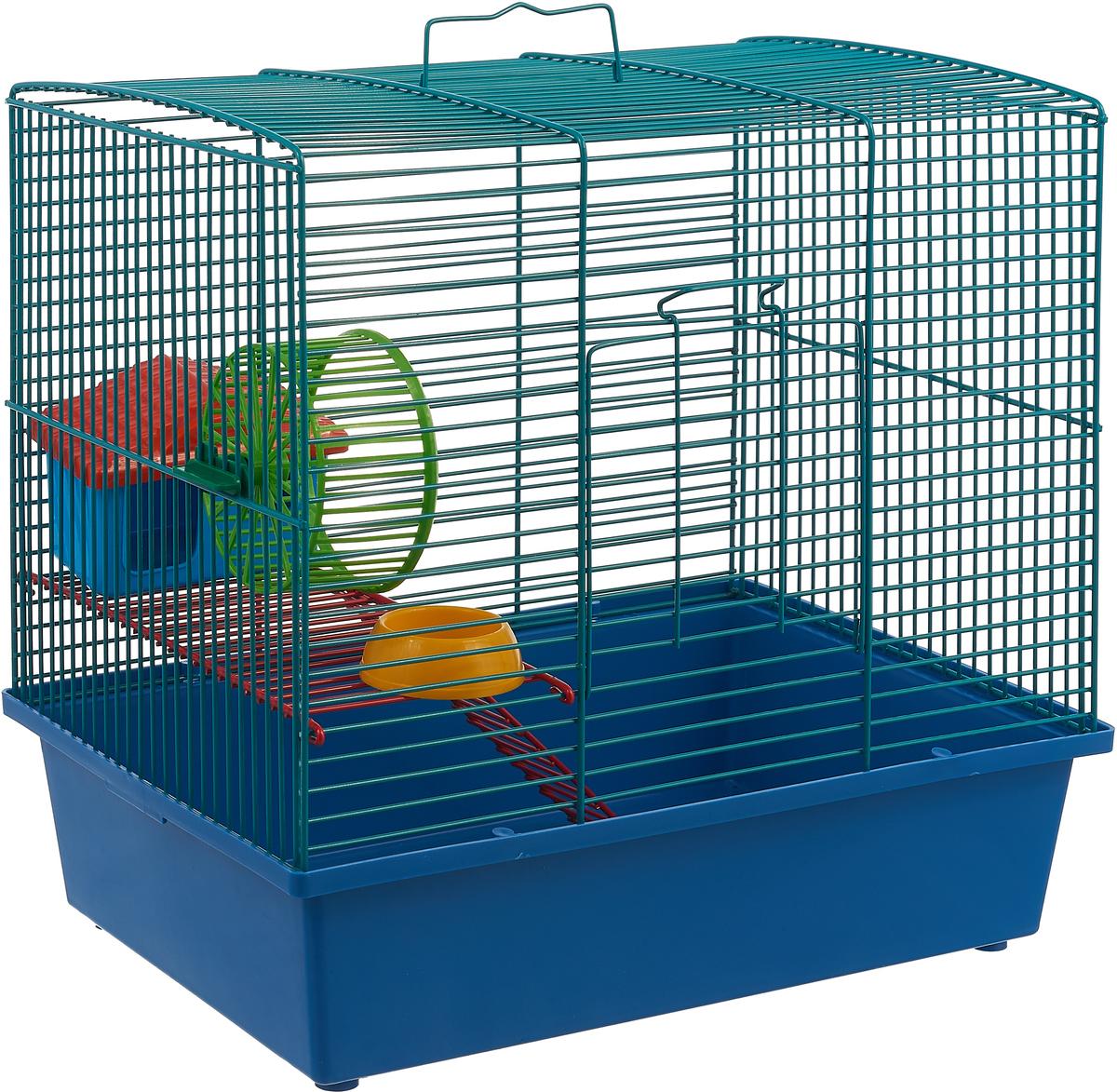 Клетка для грызунов Велес Lusy Hamster-2к, 2-этажная, цвет: синий, 35 х 26 х 26 см клетка для грызунов велес с полками цвет серый 40 х 58 х 45 см