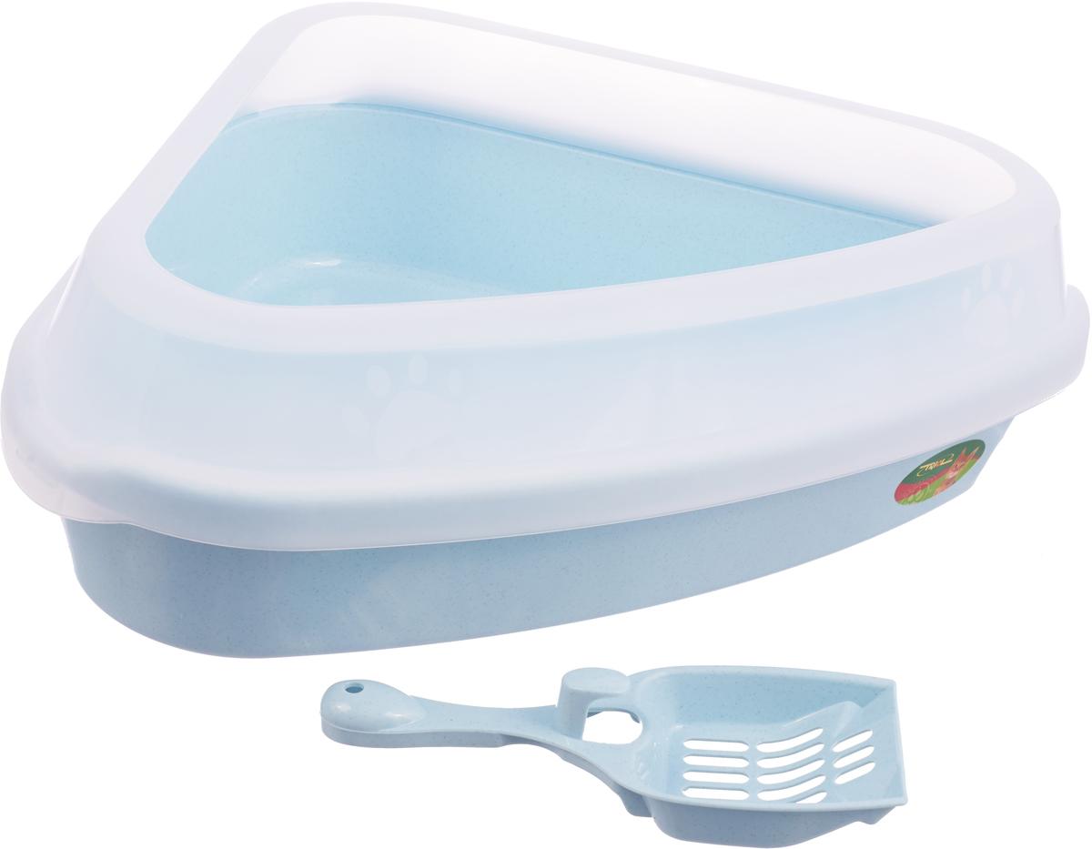 Туалет для кошек Triol, угловой, с бортом и совком, цвет: голубой, 54 х 40 х 15 см туалет для кошек triol закрытый c совком и сеткой 51 3 х 38 8 х 43 3 см