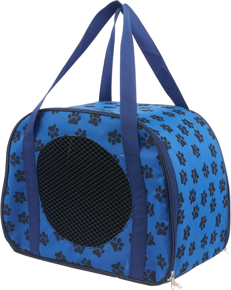 Сумка-переноска для животных Теремок, цвет: синий, 45 х 22 х 30 см сумка переноска для животных elite valley батискаф с отверстием для головы цвет темно синий черный 37 х 14 х 16 см